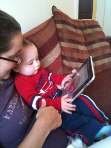 Learning to use the iPad at 9 months old